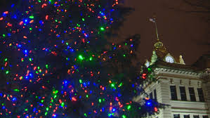 Lighted Christmas Tree and Brown County Courthouse