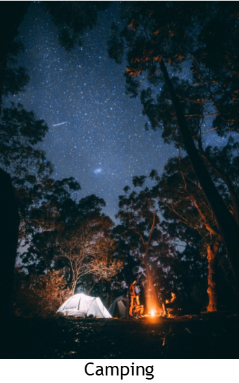 Camping under the stars with bonfire