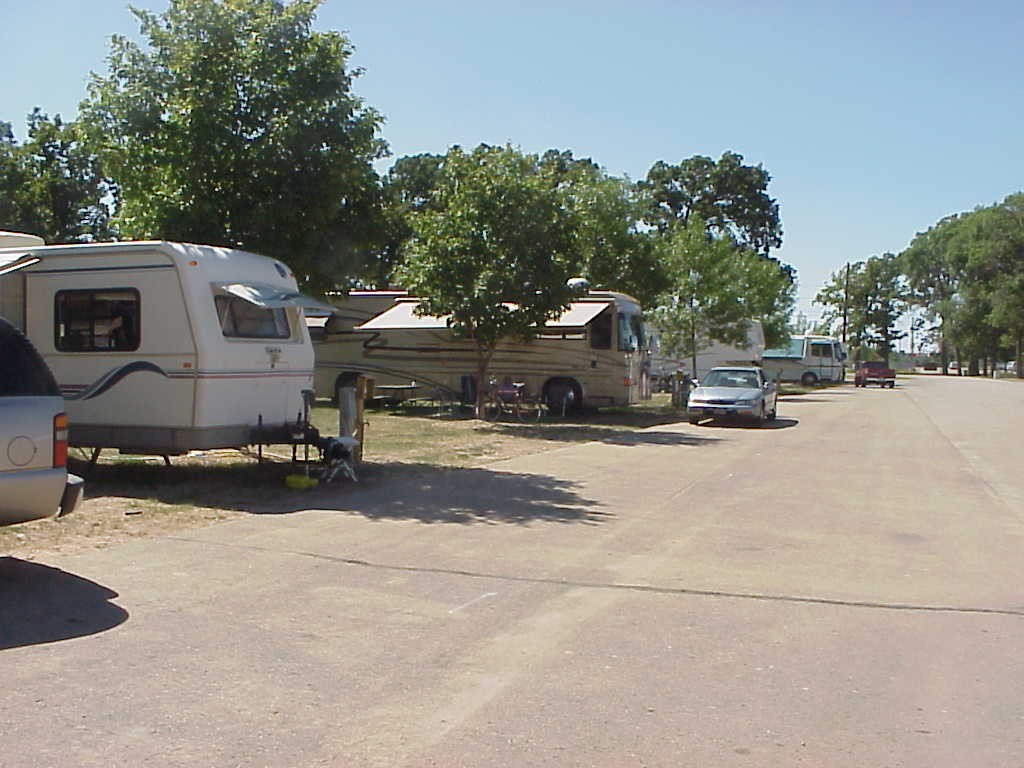 Campers parked on in campsites