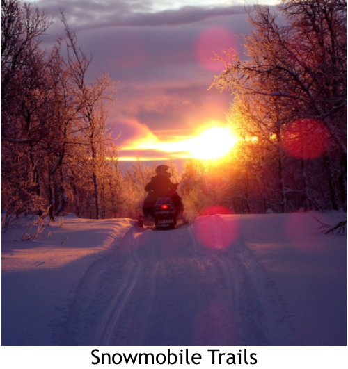 Snowmobile heading into sunset