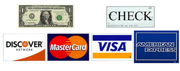 We accept cash check and all major credit cards